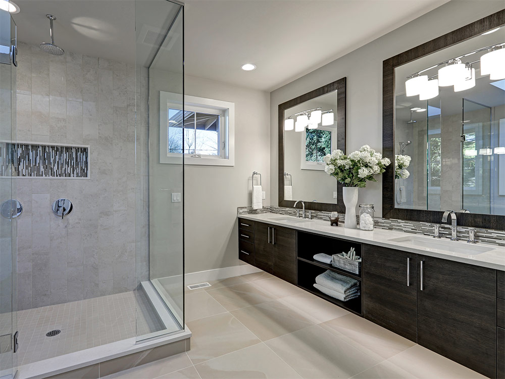 clean new bathroom remodel